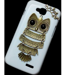 cute retro bronze metal owl branch hard back skin case cover for lg optimus l90