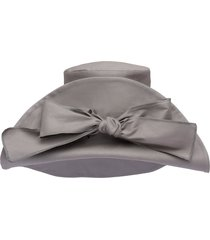 miu miu bow-embellished oversized hat - grey