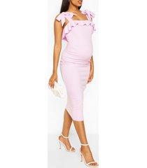 maternity tie shouder ruffle midi dress, lilac