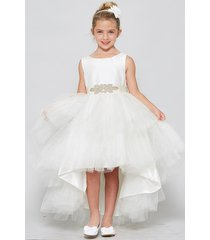 ivory sleeveless hi-low skirt style v-back stone on satin sash flower girl dress
