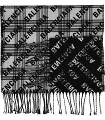 black and ivory logo print scarf