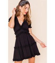 alli ruffled a-line mini dress - black