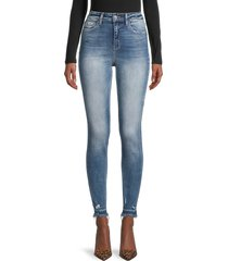 flying monkey women's high rise distressed skinny jeans - blue - size 25 (2)
