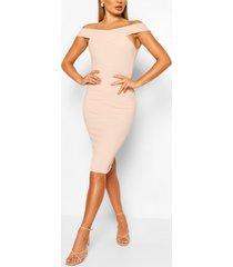 off shoulder bodycon midi dress, pink
