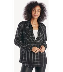 sanctuary women's new generation boyfriend shirt in color: silver night plaid size xs from sole society