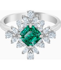 anello con motivo palace, verde, placcatura rodio