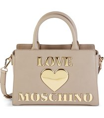 love moschino women's faux leather structured crossbody bag - taupe