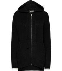 salma mw zaddicted int zipped hoodie stickad tröja cardigan svart zadig & voltaire