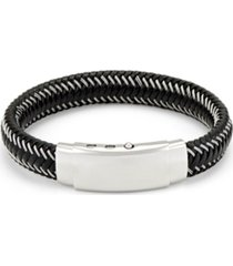 men's black leather wire bracelet