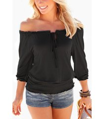 black off shoulder self-tie top with cut out design