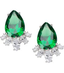cz by kenneth jay lane women's rhodium-plated & crystal statement pear earrings