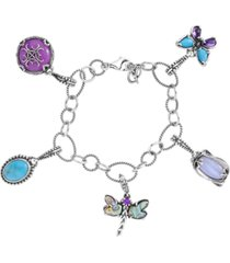 carolyn pollack turquoise, blue lace agate, abalone charm link bracelet in sterling silver