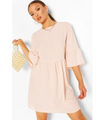 frill sleeve smock dress, nude
