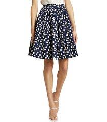 carolina herrera women's polka dot ruffle skirt - navy - size 10