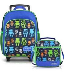 conjunto mochila com rodinhas p menino e lancheira térmica robo jacki design sapeka azul marinho