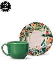 conjunto 12pçs xícaras de chá porto brasil mônaco néctar branco