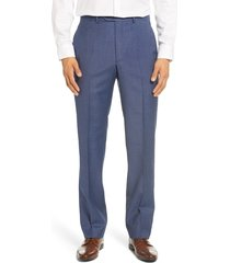 men's big & tall santorelli flat front sharkskin stretch wool dress pants, size 44 - blue