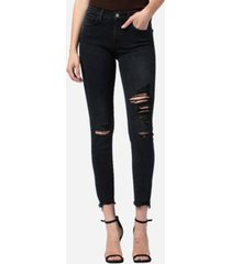 flying monkey mid rise distressed raw hem skinny ankle jeans