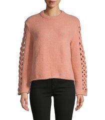avantlook women's cut-out roundneck sweater - rose - size m
