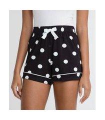 short de pijama em viscolycra estampada | lov | preto | m