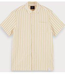scotch & soda gestreept overhemd van 100% katoen met korte mouwen