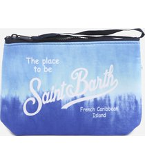 mc2 saint barth clutch bag in scuba fabric with tie-dye print