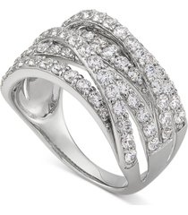 arabella cubic zirconia multirow statement ring in sterling silver