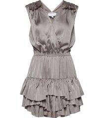 ruffled front wrap dress kort klänning grå designers, remix