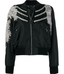 philipp plein crystal bomber jacket - black