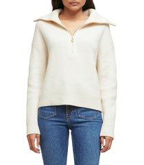 maje matelot half zip wool blend sweater, size 1 in ecru at nordstrom