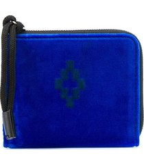 marcelo burlon county of milan cross velvet wallet blue black