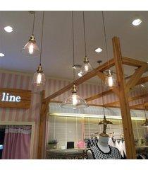 techo e27 estilo industrial retro pendiente de la luz de la lámpara rústica sombrero cortina de cristal - no especificado