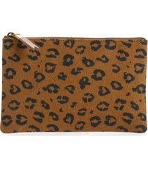 madewell the canvas pouch clutch in painted spots - brown