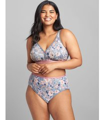 lane bryant women's cotton high-leg brief panty 34/36 garden rose