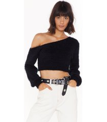 womens it fluff be love off-the-shoulder top - black