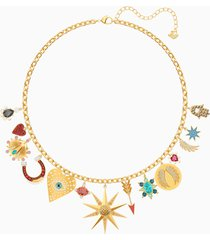 collana lucky goddess charms, multicolore, placcato oro