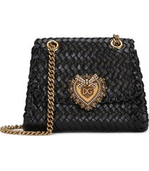 dolce & gabbana braided devotion crossbody bag - black