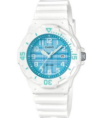 reloj casio lrw 200h 2c para dama blanco/azul original