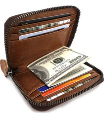 vera pelle porta carte di credito vintage da 9 carte con cerniera per uomo