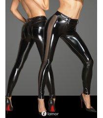 * noir handmade pvc broek met tule inzetstukken