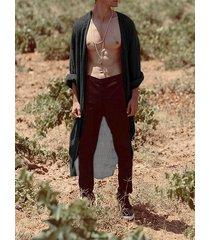 cárdigan de moda de manga larga a rayas casual para hombre