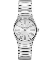 bcbgmaxazria ladies round silver stainless steel bracelet watch, 33mm
