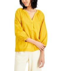 alfani petite cotton y-neck top, created for macy's
