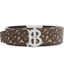 burberry reversible monogram print belt - brown