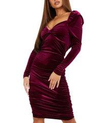 quiz ruched velvet bodycon dress