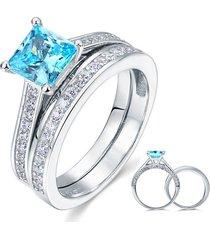1.5 carat princess cut fancy blue created diamond 925 silver wedding ring set