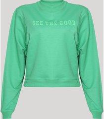 """blusão de moletom feminino cropped """"see the good"""" verde"""