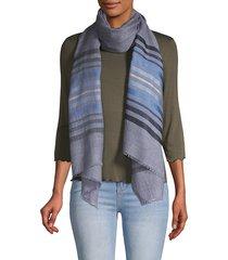 saachi women's striped wool silk scarf - denim blue