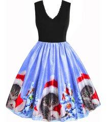 back zipper christmas cat snowflake lace trim dress