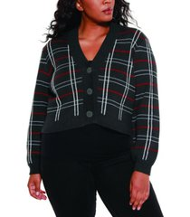belldini black label women's plus size lurex plaid button down cardigan